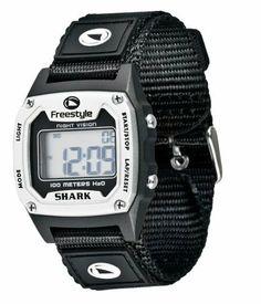 Freestyle Unisex 779024 Shark Classic Silver Nylon Strap Watch Freestyle. $34.95. Quartz movement. Water-resistant to 330 feet (100 M). Plastic crystal. Plastic case; digital dial. Case diameter: 37 mm. Save 22%!