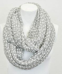 Gray Boucle Infinity Scarf