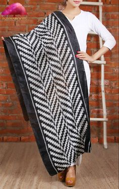 Black & White Silk Ikat Stole by Vriksh at Indianroots.com