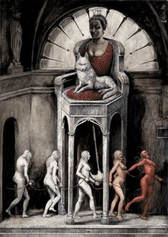 """illustrations by Santiago Caruso for """"The Bloody Countess."""""""