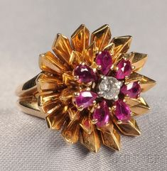Retro 14kt Gold, Ruby, and Diamond Flower Ring, Cartier, c. 1949, with full-cut diamond center, framed by pear-shape rubies, size 4 1/4, by shawna