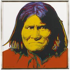Geronimo from LOT 44 ANDY WARHOL Cowboys and Indians (Feldman & Schellmann II.377-386) Estimate  200,000 - 300,000 USD sheets: 36 by 36 in. (91.4 by 91.4 cm.) the portfolio of ten screenprints in colors, each signed, nine numbered 56/250 and John Wayne (F. & S. II.377) inscribed unique in pencil (as issued), 1986, on Lenox Museum Board, with the blindstamp of the printer, Rupert Jasen Smith, New York, with the inkstamp (verso) of the publisher, Gaultney, Klineman Art, Inc., New York, framed