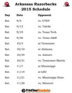 Arkansas Razorbacks Football Schedule (2015)