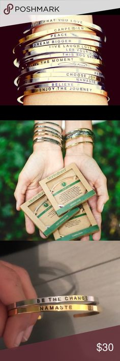 """MantraBands Beautiful Mantra Bands set of two. One silver """"Be the Change"""" and a gold """"Namaste"""". Worn once, no box. Stack them and add to your collection. Mantra Band Jewelry Bracelets"""