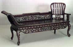 Asian Burmese style (19th Cent) rosewood and pearl inlaid recamier