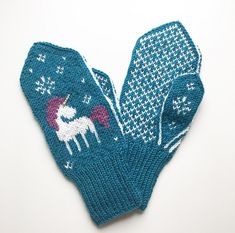 Ravelry: Always Be a Unicorn Mittens pattern by Tonje Haugli Knitted Mittens Pattern, Knit Mittens, Knitting Patterns, Knitting Ideas, Crochet Pillow, Knit Crochet, Crochet Bikini Bottoms, Unicorn Headband, Diy Scarf