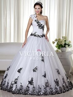 69b9aaa81df White Black Long Tulle One Shoulder With Straps Corset Prom Dress - US   209.69 -