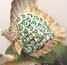 14k Yellow Gold Paraiba Tourmaline & Diamond Fish Pin/ Pendant by from divinefind on Ruby Lane