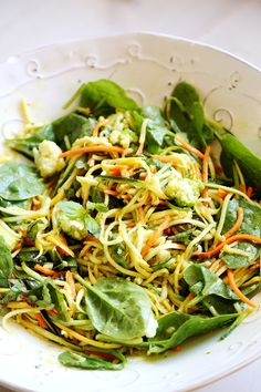 Zucchini Squash Noodle Salad with Greens