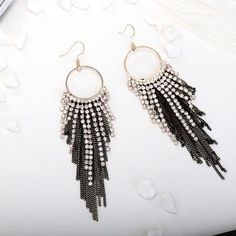 Hoop Rhinestone Long Dangle Earrings Chain Fringe