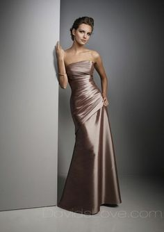 A-Line Strapless Long Satin Bridesmaid Dress