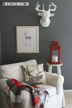 """""""Merry Everything"""" Watercolor Deer Print by Lemonade Makin Mama: $15 in her Etsy shop"""