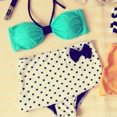 San Francisco Retro High Waist Swimsuit ( Green Top and White Polka Dots Bow Bottom) S M L XL