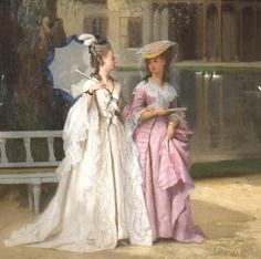 The walk of the queen, Joseph Caraud (1874) -- detail, woman in lavender is said to be Princess de Lamballe