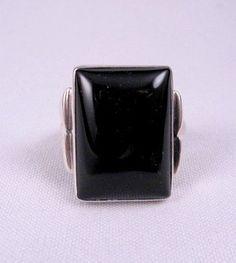 Navajo ~ Orville Tsinnie ~ Black Onyx Silver Ring sz10 sz11 sz12