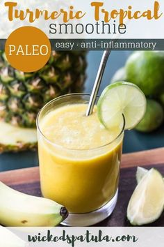 Anti-Inflammatory Turmeric Pineapple Smoothie Recipe - This anti-inflammatory smoothie recipe is tropical and delicious. 6 ingredients + 5 minutes prep for this turmeric smoothie. One sip of this turmeric pineapple smoothie and you will love it! Turmeric Smoothie, Juice Smoothie, Smoothie Drinks, Healthy Smoothies, Healthy Drinks, Healthy Snacks, Healthy Recipes, Healthy Juices, Anti Inflammatory Smoothie