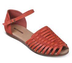 Sandália rasteira rústica laranja| Sandálias | Bottero Calçados