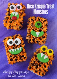 Rice Krispies Treat Monsters - a hit with all the kiddos and perfect for Halloween! Fun Halloween Treats, Halloween Desserts, Holiday Treats, Holiday Fun, Happy Halloween, Halloween Party, Halloween Crafts, Halloween Ideas, Preschool Halloween