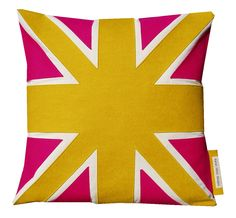 Yellow and hot pink  UNION JACK cushion/pillow