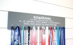 Triathlon Medal Holder - Definition of Triathlete - Large - York Sign Shop - 1 Ironman Triathlon, Triathlon Training, Charcoal Paint, Award Display, Triathalon, Running Medals, Medal Holders, Training Motivation, Picture Hangers