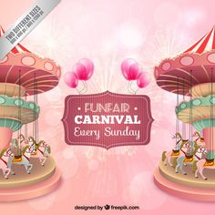 Nice funfair carousel background Free Vector