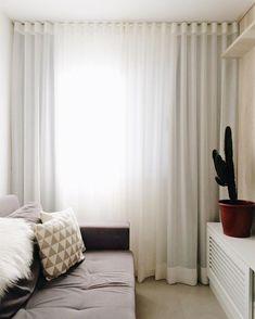Curtain Room, Curtains, Cortina Wave, Curtain Headings, Small Sofa, Drapery, Window Treatments, Sweet Home, New Homes
