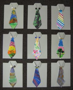 """Fathers day cards with hand painted ties. From Teach Kids Fathers day cards with hand painted ties. From Teach Kids Art."""" data-componentTy… Fathers day cards with hand painted ties. From Teach Kids Art. Fathers Day Art, Fathers Day Crafts, Art For Kids, Crafts For Kids, Arts And Crafts, Dad Crafts, Father's Day Activities, Kindergarten Projects, Father's Day Diy"""