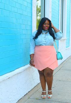 Musings of a Curvy Lady, Plus Size Fashion, Fashion Blogger, Women's Fashion, Summer Fashion, Statement Necklace, Skort, Denim Shirt, Swedish Hasbeens, Style Hunter, You Got It Right, The Outfit, La Vita Linx