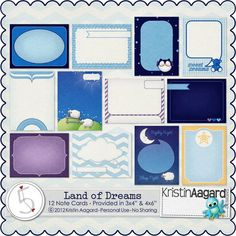 Quality DigiScrap Freebies: Land of Dreams journal cards freebie from Kristin Aagard Designs Mini Albums, Dream Note, Digital Project Life, Dream Journal, Digital Scrapbooking Freebies, Printable Planner Stickers, Printables, Photoshop, Day Planners
