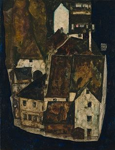 Egon Schiele (1890-1918), Dead City III (City on the Blue River III), 1911. Oil and opaque color on wood. Leopold Museum, Vienna, Inv. 460.