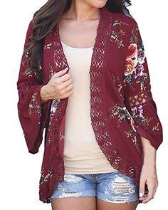 8677849bb2643 Kidsform Femme Gilet Casual Imprimé Grande Taille Vêtement de Plage Bohême  Cover Up Kimono Top Rouge