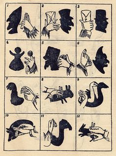 A Page of Hand Shadows  *Note - I have now added all the pages from this booklet by Photo_History, via Flickr
