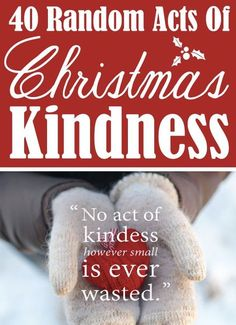 40 Random Acts Of {Christmas} Kindness Ideas and inspiration to start doing your own RAOK! I promise, if you do, your Christmas will be MUCH merrier! Merry Little Christmas, All Things Christmas, Winter Christmas, Christmas Holidays, Christmas Crafts, Christmas Decorations, Christmas Ideas, Christmas Service, Happy Holidays