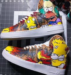 """Naughty Simpsons"" Nike Air Force 1 High ""On Fire"" Custom Shoes Custom Made Nike Custom Painted Shoes, Custom Made Shoes, Custom Sneakers, Hype Shoes, On Shoes, Air Force 1 High, Nike Air Force, No Name Shoes, Painted Sneakers"