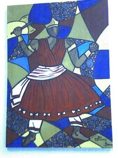 Xangô acrílico s/tela 70x50 pintado por Bianca Branco