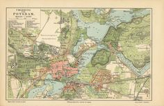 An poster sized print, approx mm) (other products available) - Map of Potsdam and surroundings, Brandenburg, Germany. Lithograph , published in - Image supplied by Fine Art Storehouse - poster sized print mm) made in the UK Fine Art Prints, Framed Prints, Canvas Prints, Framed Wall, Le Genre, Poster Size Prints, Print Map, Antique Maps, Photographic Prints