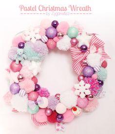 Pastel Christmas Wreath handmade by me