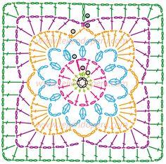Crochet Granny Square Cuadrado fácil de tejer a crochet (granny square)! very pretty - made up in plain white yarn flower inside square Crochet Motif Patterns, Crochet Symbols, Crochet Blocks, Granny Square Crochet Pattern, Crochet Diagram, Crochet Chart, Crochet Squares, Granny Squares, Knitting Patterns
