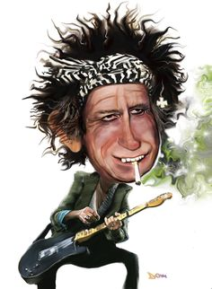 Keith Richards By Dom Richards | Famous People Cartoon | TOONPOOL