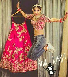 The happy hop in my shoes :p PC:design_aqua_studio Indian Wedding Couple Photography, Bride Photography, Bride Poses, Wedding Poses, Lehenga Choli, Anarkali, Bridal Lehenga, Indian Bridal Photos, Bollywood