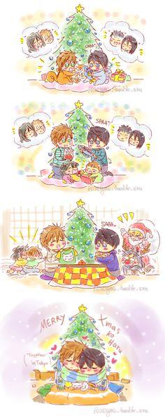 Merry Christmas ... From racyue ... Free! - Iwatobi Swim Club, free!, iwatobi, makoto tachibana, makoto, tachibana, haruka nanase, haru nanase, haru, haruka, nanase, ren, ran, ren tachibana, ran tachibana, nagisa hazuki, nagisa hazuki, rei, rei ryugazaki, ryugazaki,