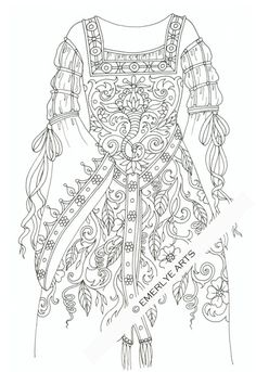 """Medieval Gown with ribbons - an adult coloring page - available as a digital download - part of Cynthia Emerlye's """"Raiments"""" series. $2"""