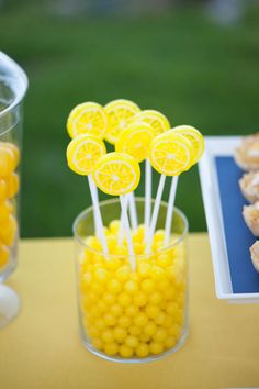 Thinking a lemonade bridal shower... PERFECT decor detail for my lemon/yellow inspired wedding shower!