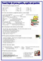 Here is the first of a small series on present simple, students have to pu the verb in the correct form according to what is asked, positive, negative  or question - ESL worksheets