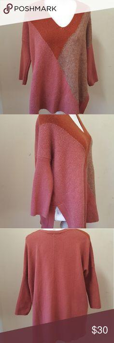 Loft orange tunic sweater Beautiful loft sweater. Tunic style. Slits up the side. Price firm. LOFT Sweaters