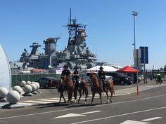 Battleship & Mounted Police - USS Iowa, San Pedro, California