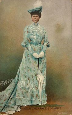 early 1900's, Princess of Wales Mary holding parasol. Colorized postcard