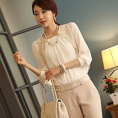 QIDIANCHE Women's All Match Solid Color Lace Chiffon Long Sleeve Blouse – AUD $ 22.43
