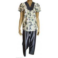 Damart Floral Satin Pyjamas. Size 10-12