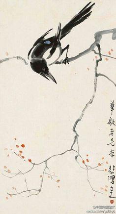 """【 徐悲鸿《喜上枝头》】""""喜鹊登梅""""寓意着画家对美好事物的憧憬与期盼,也寄托着对友人衷心的祝福。此作构图简单凝练,水墨浓淡自然,点点红梅穿插其间,是春意的始然,是生命的律动。画面疏密有致,寥寥几笔,神韵俱足,气韵灵动,一花一鸟透染盎然生机。"""